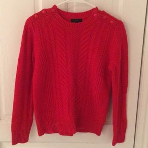 Red Cable Knit Sweater with Button Details